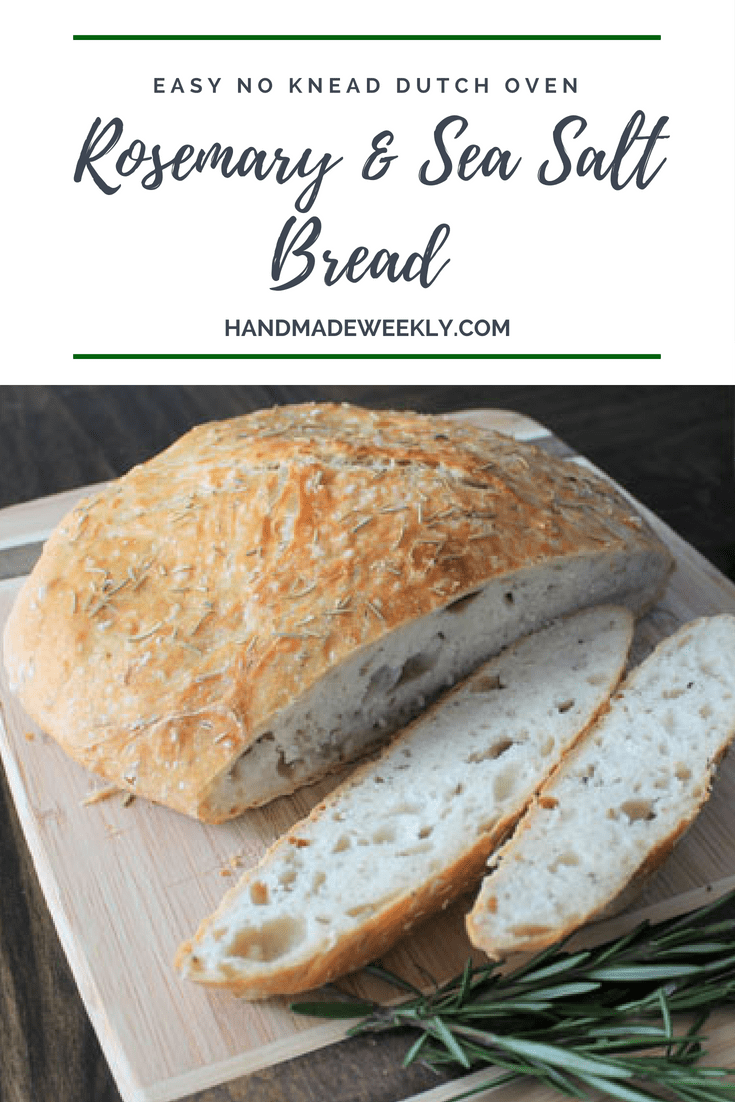 No knead dutch oven rosemary and sea salt bread