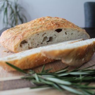 No Knead Dutch Oven Rosemary & Sea Salt Bread