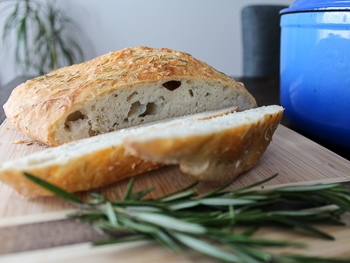 Rosemary sea salt dutch oven bread