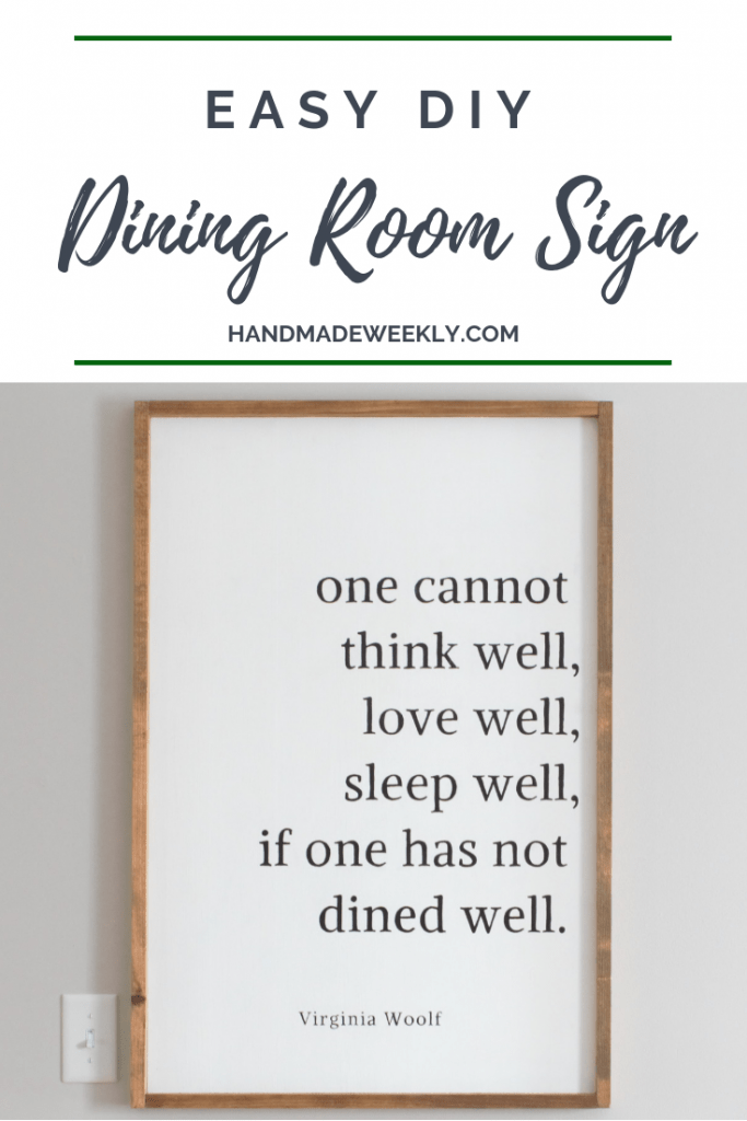 DIY Farmhouse Dining Room Sign