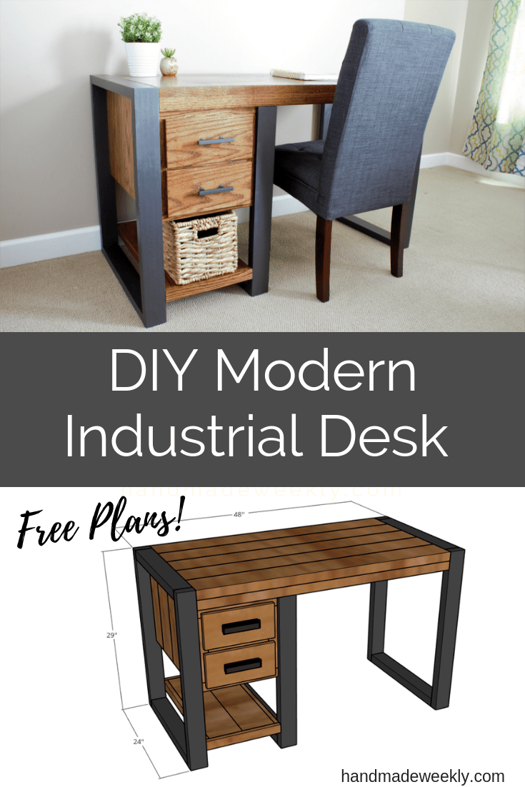 DIY Modern Industrial Desk Free Plans