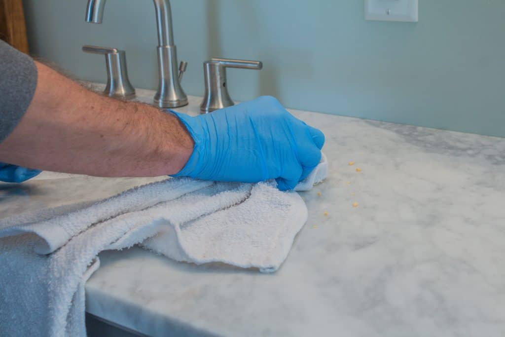 How to remove etch marks from counter tops