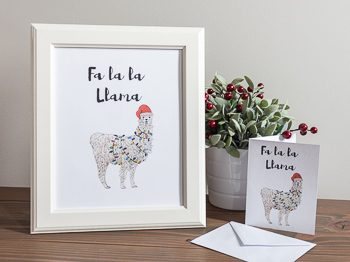 Christmas Print and card fa la la llama