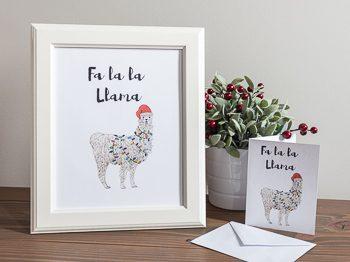 Christmas Print and card fa la la llama