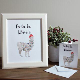 Free Llama Christmas Card and Art Print