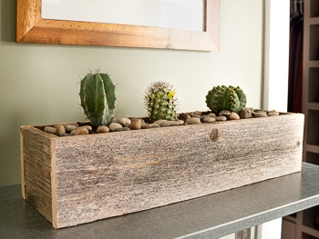 Rustic barn wood planter using hobby lobby wood
