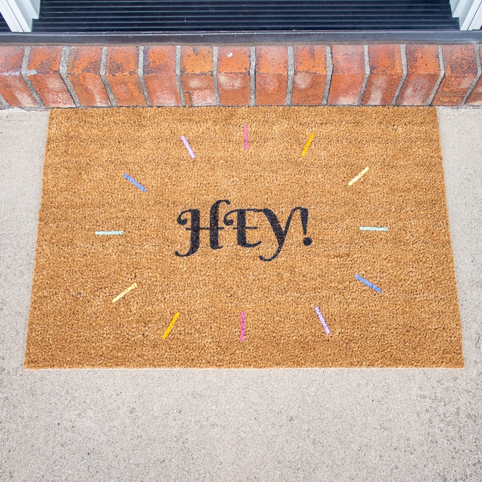 DIY Painted IKEA TRAMPA Door Mat 9