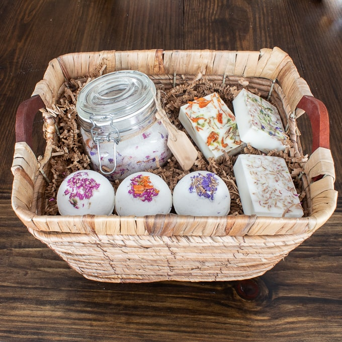 Floral bath salt, bath bomb, bar soap gift basket