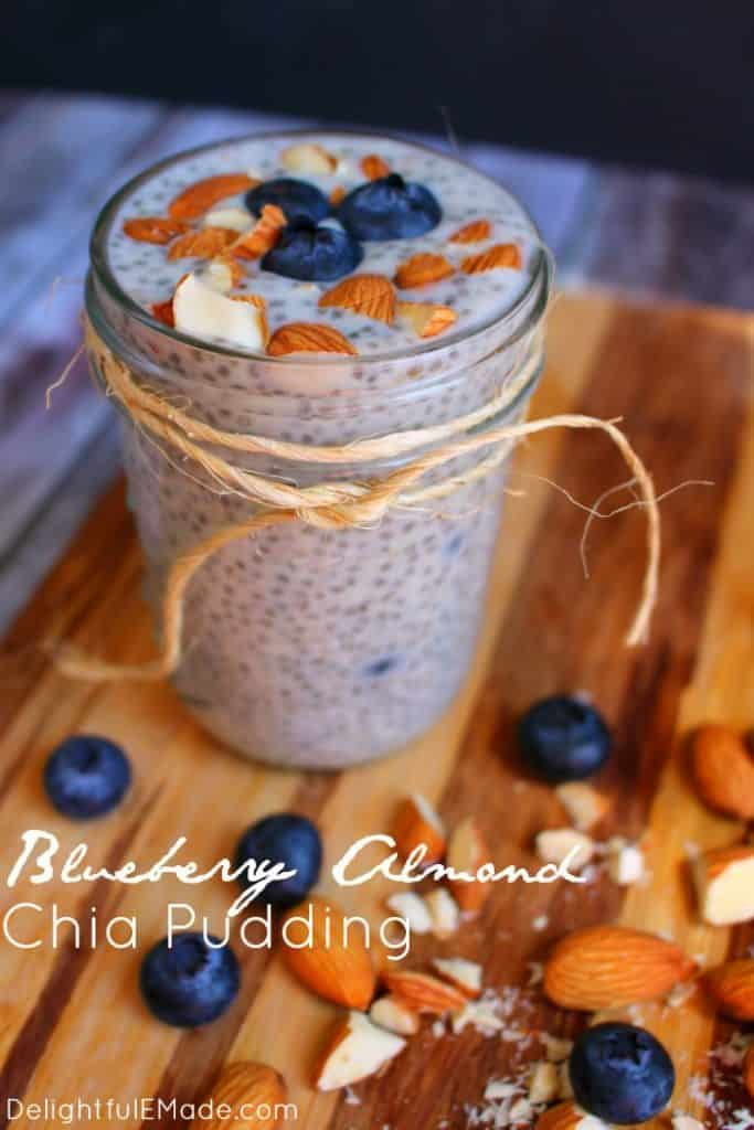 Blueberry almond and chia seed pudding