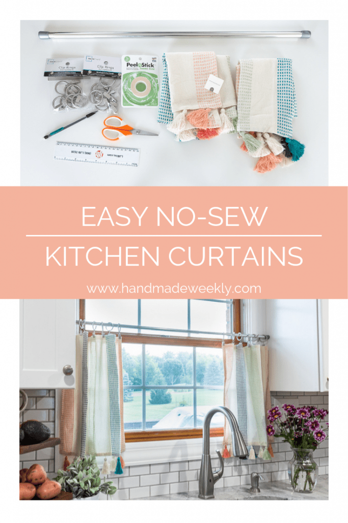 how to make no sew kitchen curtains