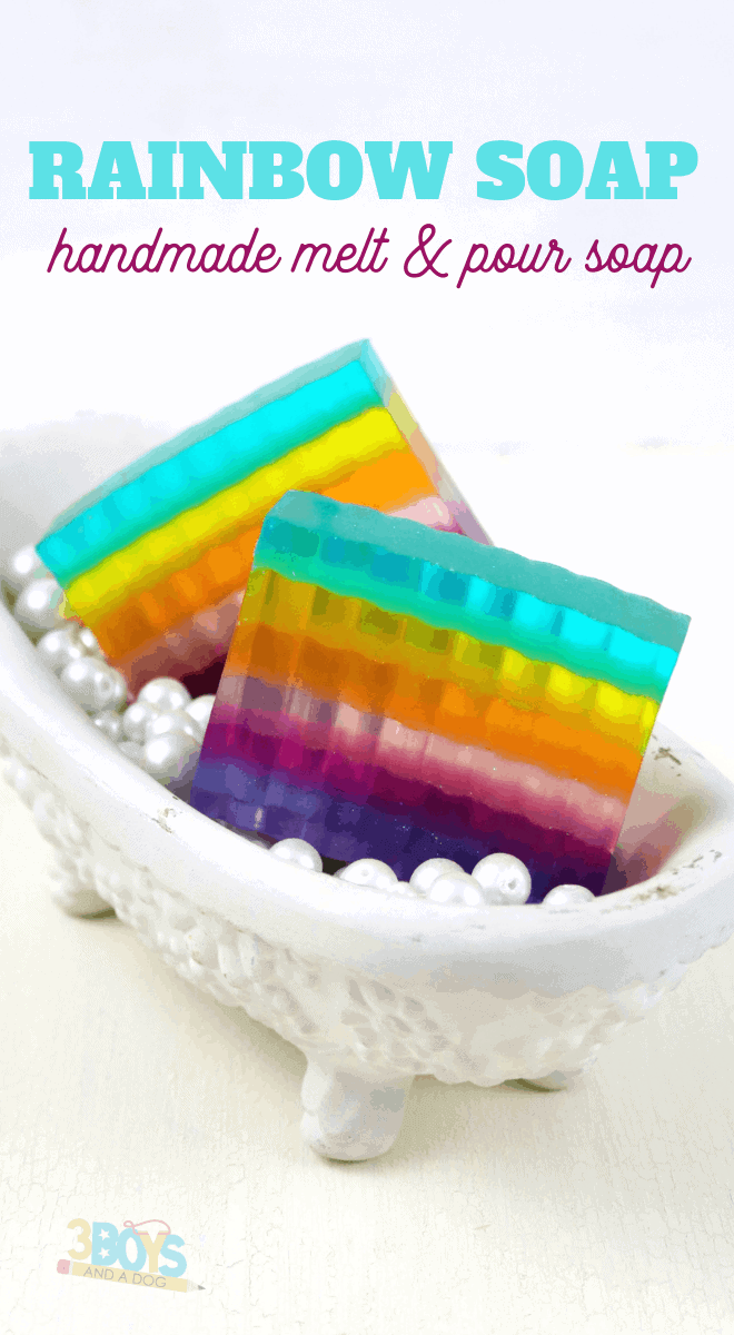 rainbow melt and pour soap