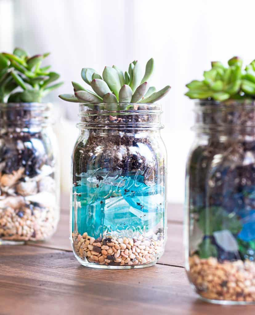 beachy mason jar decor