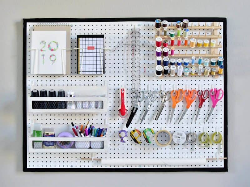 pegboard organization for sewing supplies