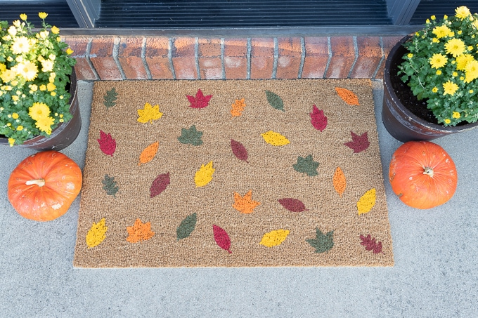 DIY Painted Fall Leaf Doormat Free SVG File