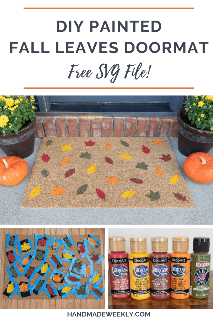 DIY Painted Fall Leaves Doormat