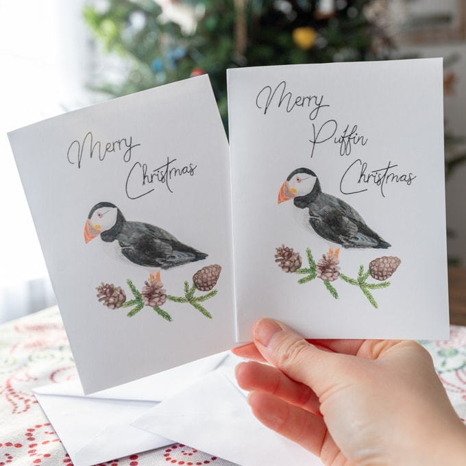 Puffin christmas card - Free printable download