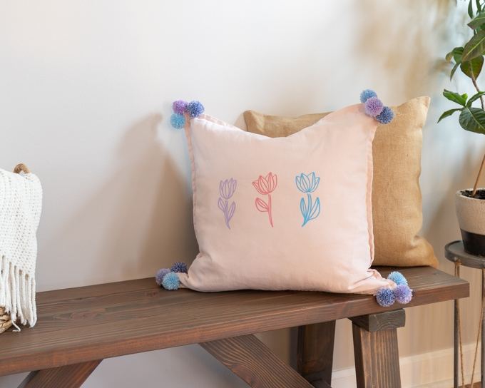 DIY Spring Pillow with Iron on Vinyl