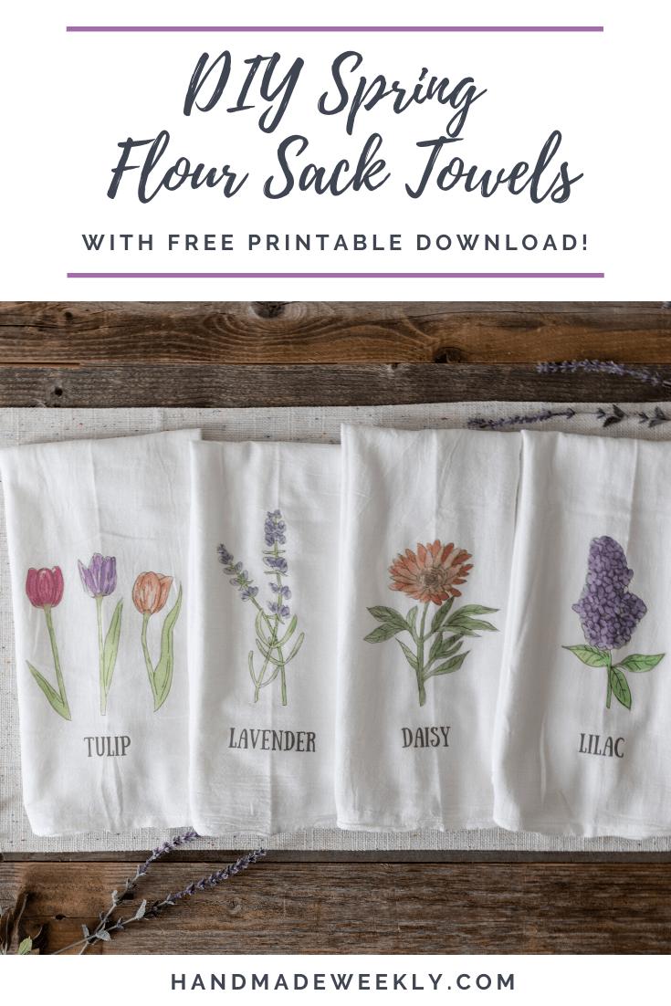 DIY Spring Floral Flour Sack Towels