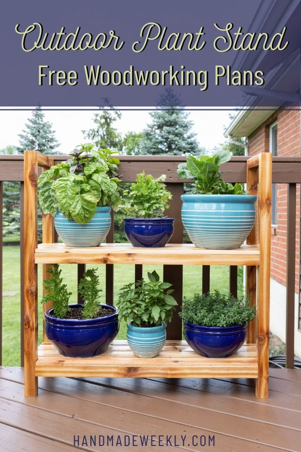 DIY outdoor cedar plant stand
