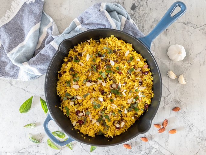 Mediterranean Rice with dried fruit and fresh herbs