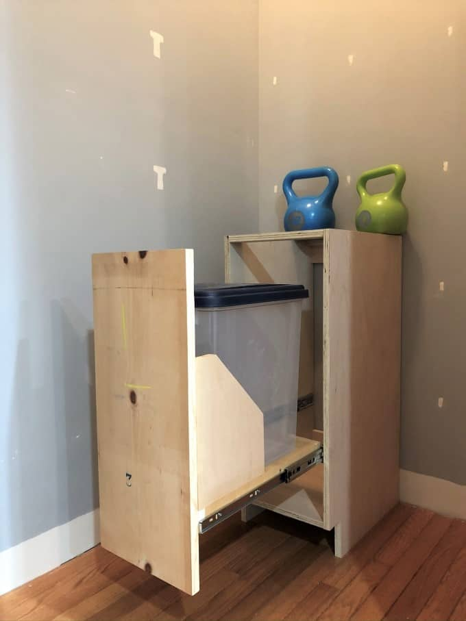 DIY Pull-out cabinet for dog food, trash or recycling