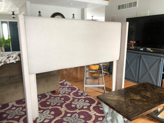 DIY upholstered wingback headboard